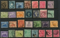 Lot 390 [2 of 2]:Assortment Assortment on Hagners with SA with imperf 2d & 6d x2, 2d Sideface optd 'OS' with perforation through middle of stamp, few railways cancels, etc, Tasmania imperf 1/- complete margins; Victoria with 3d Half-Length and imperf 4d Emblems;WA to 2/- & 5/-; plus other useful oddments, possible postmark interest. (80+)