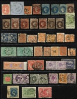 Lot 390 [1 of 2]:Assortment Assortment on Hagners with SA with imperf 2d & 6d x2, 2d Sideface optd 'OS' with perforation through middle of stamp, few railways cancels, etc, Tasmania imperf 1/- complete margins; Victoria with 3d Half-Length and imperf 4d Emblems;WA to 2/- & 5/-; plus other useful oddments, possible postmark interest. (80+)