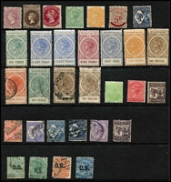 Lot 336 [1 of 3]:1880-1900s Array on Hagners with South Australia 1876-90 Broad Star 2/- carmine mint, 'Long Toms' Thin 'POSTAGE' 6d, 8d x2 & 9d and Thick 'POSTAGE' 8d, 9d & 1/- all mint, also mostly used selections from NSW, Queensland & WA; mixed condition. (90)