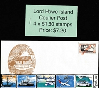 Lot 409 [1 of 2]:Lord Howe Island 1998 (Dec 31) first issue $1.80 Courier Post sheet of 36 numbered #71 of just 200 sheets issued, also $7.20 booklet (200 issued) & a single stamp handstamped 'SPECIMEN' on unaddressed commememorative cover. (3 items)