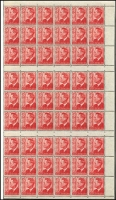 Lot 773 [2 of 5]:1927-63 Selection comprising 1920 Canberra booklets x3 and a booklet pane of eight; 1956 3/6d stapled booklet with waxed interleaves x2; 1950-52 KGVI 3d scarlet booklet pane of 54 stamps, with gutters, (issued for booklet use); 1953-56 wmk Cof A 3/6d reconstruction of eight booklets with wax interleaving (panel A); 1957-59 4/- stapled booklet (no stitch holes) with waxed interleaves; 1959-63 5/- reconstruction of eight 1960 front covers and eight panes of six (panel K) stamps; condition a tad variable. (qty)
