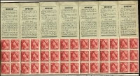 Lot 773 [1 of 5]:1927-63 Selection comprising 1920 Canberra booklets x3 and a booklet pane of eight; 1956 3/6d stapled booklet with waxed interleaves x2; 1950-52 KGVI 3d scarlet booklet pane of 54 stamps, with gutters, (issued for booklet use); 1953-56 wmk Cof A 3/6d reconstruction of eight booklets with wax interleaving (panel A); 1957-59 4/- stapled booklet (no stitch holes) with waxed interleaves; 1959-63 5/- reconstruction of eight 1960 front covers and eight panes of six (panel K) stamps; condition a tad variable. (qty)