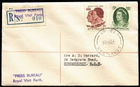Lot 902 [1 of 2]:1963 Royal Visit Garrard cover with 'No 26/26MAR63/WEST-AUST' relief datestamp tying Royal Visit set, 'PRESS BUREAU/Royal Visit Perth' in violet on provisional registration label, with another fine stike at base, typed address.