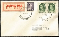 Lot 782 [3 of 4]:1963 Royal Visit Covers comprising (Feb 11) Philatelic Society of Fiji cover with Fiji Royal Visit set tied by Suva datestamp; (Mar 4) certified mail cover with stamps tied by 'RELIEF/4MR63/NSW-AUST' datestamp; (Mar 16) with Darwin Royal Visit slogan cancel and & H.M. Yacht Britannia Commander's Office & Victualling Office dated boxed handstamps; all with typed addresses to Garrard. (3)