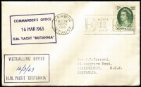 Lot 782 [1 of 4]:1963 Royal Visit Covers comprising (Feb 11) Philatelic Society of Fiji cover with Fiji Royal Visit set tied by Suva datestamp; (Mar 4) certified mail cover with stamps tied by 'RELIEF/4MR63/NSW-AUST' datestamp; (Mar 16) with Darwin Royal Visit slogan cancel and & H.M. Yacht Britannia Commander's Office & Victualling Office dated boxed handstamps; all with typed addresses to Garrard. (3)