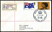 Lot 906 [1 of 2]:1970 Royal Visit Garrard cover with 'ROYAL VISIT 1970/(crown)/23APR1970/CANBERRA ACT 2600' datestamp (APM #3020) tying stamps, 'PRESS BUREAU/ROYAL VISIT/CANBERRA A.C.T.' in violet on provisional registration label, typed address.