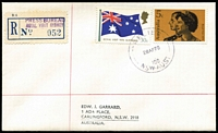 Lot 907 [1 of 2]:1970 Royal Visit Garrard cover with 'RELIEF/28APR1970/100/NSW.AUST' datestamp tying stamps, 'PRESS BUREAU/ROYAL VISIT SYDNEY' in violet on provisional registration label, typed address.