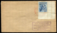 Lot 802:Ackland 1928 3d Kooka corner marginal example (from M/S) tied to plain FDC by Exhibition FDI datestamp in red, Ackland address handstamp.