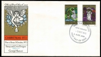 Lot 803 [2 of 2]:Australia Post 1973 Christmas set tied to illustrated FDC by Philatelic Sales Centre Sydney '3OCT1973' FDI datestamp, illustration with Red & gold colours missing, normal cover included for comparison.