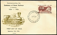 Lot 837:Bergen 1954 3½d Railway Centenary tied to FDC by Relief No 15 FDI datestamp, rare black & gold cachet, unaddressed.