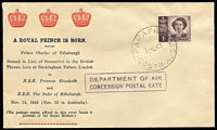 Lot 504:Bergen 1948 Prince Charles Birth with 1d Princess tied to 'A ROYAL PRINCE IS BORN' souvenir cover by Parafield (SA) '15NO48' datestamp, fine unaddressed condition.
