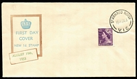 Lot 657:Bergen 1953 1d purple QEII tied to FDC (cachet dated in green) by St Arnaud North (Vic) FDI datestamp. Fine unaddressed condition.