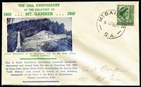 Lot 315:Bergen 1950 Mt Gambier 150th Anniverary on illustrated souvenir cover with 1½d QM tied by Mt Gambier (SA) '3DE50' datestamp, pencilled address to Bergen.