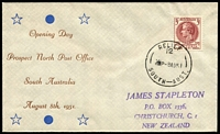 Lot 819:Bergen 1951 Opening Prospect North PO souvenir cover with 3d Responsible Government tied by Relief 12 '8AU51' datestamp.
