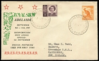 Lot 509:Bergen 1949 Royal Adelaide Show souvenir cover with Wayville Showgrounds '8SE49' (opening day) datestamp tying stamps.