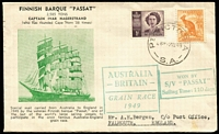Lot 312 [1 of 2]:Bergen 1949 Australia-Britain Grain Race souvenir cover for Grain Race Winner 'PASSAT' with Port Victoria (SA) '12MY49' datestamp tying stamps, Falmouth (UK) backstamp.