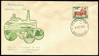 Lot 323:Bergen 1953 3½d Young Farmers' tied to illustrated FDC by Pennington (SA) FD cancel, fine unaddressed condition.