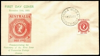 Lot 832:Bergen 1953 3d Tasmania Stamp Centenary tied to illustrated FDC by Oodla Wirra (SA) FDI cancel, fine unaddressed condition. See also Lot 833.