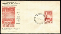 Lot 326:Bergen 1954 3½d Telegraph Centenary tied to illustrated FDC by Wayville (SA) FD cancel, fine unaddressed condition.