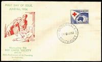 Lot 327:Bergen 1954 3½d Red Cross tied to illustrated FDC by Underdale (SA) FD cancel, fine unaddressed condition.