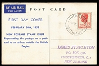 Lot 824:Bergen 1952 4½d Scarlet KGVI tied to postcard FDC (view of ANA DC4 Skymaster) by Hindmarsh (SA) FDI datestamp.