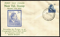 Lot 821:Bergen 1951 7½d blue KGVI tied to illustrated FDC by North Adelaide (SA) FDI datestamp, very fine unaddressed.
