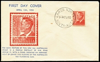 Lot 374:Bergen 1950 2½d Red KGVI tied to illustrated FDC by Largs North (SA) '12AP50' FDI datestamp, unaddressed.