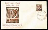 Lot 652:Bergen 1951 2½d Chocolate KGVI tied to illustated FDC by Oodla Wirra (SA) '3MY51' FDI datestamp, unaddressed.