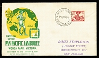 Lot 505:Bergen 1948 2½d Scouts on Wide World FDC embellished by Bergen with dateline added in green, Largs North FDI datestamp, unaddressed; includes information card printed by Bergen.