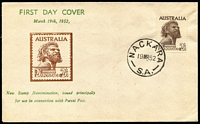Lot 826:Bergen 1952 2/6d Aborigine tied to illustrated FDC by Nackara (SA) '19MR52' FDI datestamp, fine unaddressed. Only 15 produced.