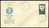 Lot 839:Bergen 1955 2/- green Olympic Publicity tied to illustrated FDC by Quorn Alice Spring TPO '30NO55' FDI datestamp, fine unaddressed.