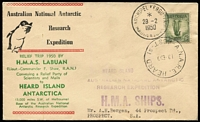 Lot 814:Bergen 1950 HMAS Labuan Heard Island Relief Trip on ANARE commemorative cover with FAAT TAAF Kerguelen Madagascar and Heard Island datestamps, HMA Ships & expedition rubber handstamps on face, typed address to Bergen. Rare cover in fine condition.