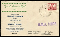 Lot 810:Bergen 1949 HMAS Labuan Special Antarctic Mail Voyage on ANARE commemorative cover from Melbourne to Heard Island with ANARE Heard Is '5FE49' datestamp, typed address, includes Bergen printed insert.