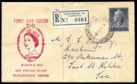 Lot 676 [1 of 2]:Easther (Max) 1955 1/0½d QEII tied to registered FDC by Launceston FDI datestamp, few light spots.