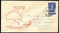 Lot 851:Easther (Max) 1958 8d Tasman Flight Anniversary tied to FDC by Launceston '27AU58' FDI datestamp, addressed locally.