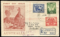 Lot 542 [1 of 2]:Hughes (DC) 1946 Peace set tied to registered illustrated cover by Cremorne Junction (NSW) '18FE46' FDI datestamp, typed address to USA. Rare usage.