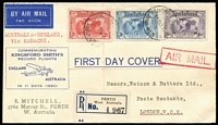 Lot 866 [1 of 2]:Mitchell 1931 Kingsford Smith set tied to registered printed FDC (rare long envelope) by Perth '19MAR31' FDI datestamps, addressed to London. The earliest recorded printed first day envelope for an Australian stamp issue.