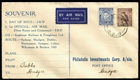Lot 874:Philatelic Investment Corp 1937 3d Blue KGVI Die IA tied to printed FDC by Mudgee (NSW) '2AU37' FDI datestamp, flown on the newly formed Southern Airlines & Freighters Ltd inaugural flight which introduced Mudgee to the Sydney-Broken Hill service, not recorded by Eustis but covered by local newpapers. A rare and desirable cover.