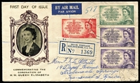 Lot 877 [1 of 2]:Robertson Stamp Co (South Africa) 1953 Coronation set (plus extra 7½d) tied to registered FDC by Melbourne '25MY53' FDI datestamp, addressed to South Africa.