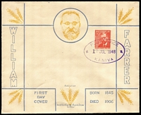 Lot 882:Segnit 1948 2½d Farrer tied to FDC by Post Office Kaniva '12JUL1948' oval datestamp, fine unaddressed condition. Arthur Segnit's second printed cachet FDC envelope and most attractive.