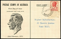 Lot 886 [1 of 2]:Unidentified 1952 4½d scarlet KGVI tied to illustrated postcard FDC by Chernside (Qld) '20FE52' FDI datestamp, L Rouvray-Cox rubber handstamp on reverse.