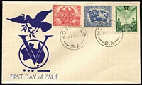 Lot 380:Unidentified 1946 Peace set to FDC by Rosefield (SA) '18FE46' FD datestamp. Very scarce cachet type.