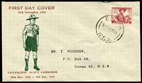 Lot 895 [1 of 4]:Woodger 1948-49 group of four illustrated FDCs with FDI cancels for Cooma (NSW) x3 or Moonta (SA), typed addresses. (4)