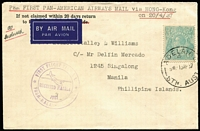 Lot 1045 [1 of 4]:1937 Australia-Philippines Flight postcard sent at 8d rate (2d and 6d) and cover with 1/4d KGV solo, paying full airmail rates to Manila via Hong Kong with transit datestamps, these items being the intermediate stage of PAA flight, circular Manila cachet in violet, AAMC #728a, Cat from $500. Scarce duo. (2)