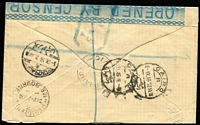 "Lot 1049 [2 of 10]:1916-70s Military Covers range from various theatres of war, mostly WWII, though value in WWI including 1916 (Jan) cover to Melbourne with superb strike of 'SCHOOL OF INSTRUCTION/ZEITOUN' triple-oval datestamp (British cachet often found used on Australian mail) with additional multiple strikes on improvised resealing label with handwritten ""Opened by Censor"" in red ink and endorsed ""J.H. Hobbs"" (censor), 1916 (Aug 7) registered cover to Egypt franked with NSW 2d & Tasmania 2d tied by Prahran datestamps, red & white registration label, 'M.O. PRAHRAN', Melbourne & Cairo backstamps, Egyptian blue and white 'OPENED BY CENSOR' label and 'PASSED/CENSOR/11' chamfered handstamps in blue x2, 1944 1/- POW Lettersheet to Germany from Marrinup (WA) sent via Melbourne; plus other WWII, few BCOF, Vietnam and other military items. (33 items)"