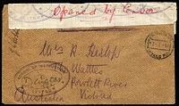 "Lot 1049 [3 of 10]:1916-70s Military Covers range from various theatres of war, mostly WWII, though value in WWI including 1916 (Jan) cover to Melbourne with superb strike of 'SCHOOL OF INSTRUCTION/ZEITOUN' triple-oval datestamp (British cachet often found used on Australian mail) with additional multiple strikes on improvised resealing label with handwritten ""Opened by Censor"" in red ink and endorsed ""J.H. Hobbs"" (censor), 1916 (Aug 7) registered cover to Egypt franked with NSW 2d & Tasmania 2d tied by Prahran datestamps, red & white registration label, 'M.O. PRAHRAN', Melbourne & Cairo backstamps, Egyptian blue and white 'OPENED BY CENSOR' label and 'PASSED/CENSOR/11' chamfered handstamps in blue x2, 1944 1/- POW Lettersheet to Germany from Marrinup (WA) sent via Melbourne; plus other WWII, few BCOF, Vietnam and other military items. (33 items)"