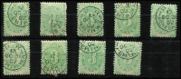 Lot 839 [2 of 2]:1902 Converted NSW Plates 3d Watermark upright BW #D7a x10, most from the same sheet with Perth 'OC31/02' datestamps, very fine, Cat $400. (10)