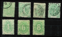 Lot 668 [2 of 2]:1902 Converted NSW Plates (Blank At Base) ½d to 5/- set between BW #D1-D11, fine used, Cat $380. (8)