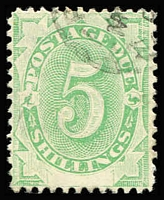 Lot 377 [1 of 2]:1902 Converted NSW Plates (Blank At Base) ½d to 6d plus 5/- SG #D1-D6 & D8, odd nibbed perf, fine overall with postal cancels, Cat $160+. (7)