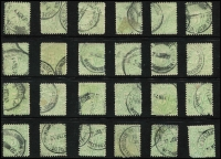 Lot 292:1908-09 Stroke After Shilling Values 5/- dull green BW #D62 x24, mostly with Perth Poste Restante datestamps, condition variable (one stamp defective). Generally fine, Cat $1,800 ($75 each).